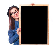 Gift in glasses with blackboard. Royalty Free Stock Images