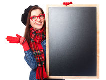 Gift in glasses with blackboard. Royalty Free Stock Photos