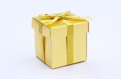 Gift gold box. Gift, gold box isolated white Royalty Free Stock Photos