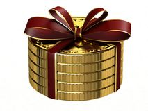 Gift of gold coins. Stock Images
