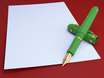 Gift gold pen, for a writing Royalty Free Stock Photography