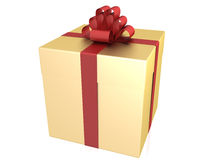 A gift of gold with a red ribbon №3 Stock Photos