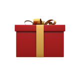 Gift with gold ribbon. On white Stock Images