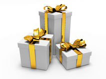 Gift with gold ribbon Royalty Free Stock Photos