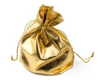Gift golden bag with a surprise. Isolated on white background Royalty Free Stock Image