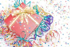 Gift with a golden bow Royalty Free Stock Image
