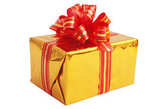 Gift in golden box Royalty Free Stock Image