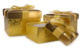 Gift golden boxes Royalty Free Stock Photography