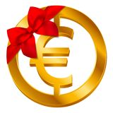 Vector money Euro sign Euro coin icon with red bow, ribbon isolated on white background vector illustration