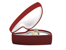 Gift golden ring in a box another angle. A golden ring with a gem in a heart shaped box Royalty Free Stock Photo