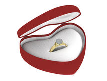 Gift golden ring in a box different angle. A golden ring with a gem in a heart shaped box Royalty Free Stock Images