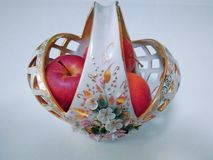 Vase with small red apples royalty free stock image