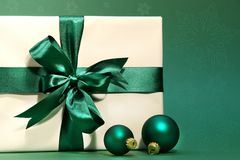 Gift with green bow Stock Photography