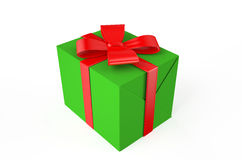 Gift green box. Isolated on white background Stock Photography