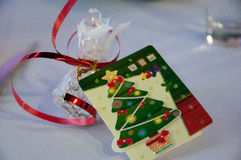 Gift with greeting card Royalty Free Stock Image