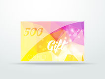 Gift greeting card yellow lila glitter with shine Royalty Free Stock Photo