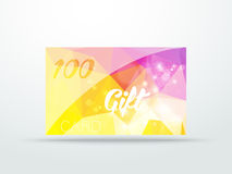Gift greeting card yellow lila glitter with shine Stock Photography