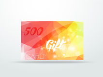 Gift greeting card yellow red glitter with shine Stock Photo