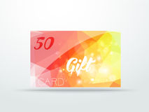 Gift greeting card yellow red glitter with shine Stock Photography
