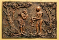 Gift of the half of the Devadusya divine cloth given by Indra to a poor Brahmin Stock Images