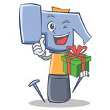 With gift hammer character cartoon emoticon Stock Photo