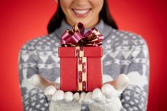 Gift on hands Royalty Free Stock Images