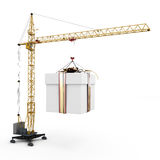 Gift hanging on a hook of the construction crane Royalty Free Stock Photos