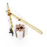 Gift hanging on a hook of the crane Royalty Free Stock Photography