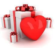 Gift that heart. 3D render Royalty Free Stock Photo