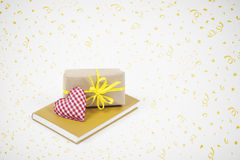 Gift, Heart and Book with Party Background. Royalty Free Stock Photos