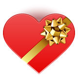 Gift heart with bow top view Stock Images