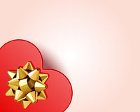 Gift heart with bow top view Stock Photos