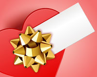 Gift heart with bow top view with card. Valentine's day background Royalty Free Stock Photography