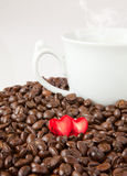 Gift heart and coffee Stock Photo