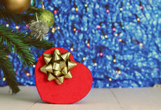 Gift heart red and blue background. Stock Images
