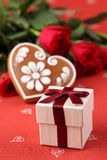 Gift, heart and roses Stock Photography