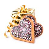 Gift with heart shape biscuit Royalty Free Stock Image