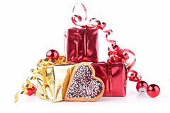 Gift with heart shape biscuit Stock Image