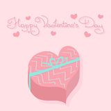 Gift in heart shaped box. Holiday card. Valentine's Day Royalty Free Stock Images