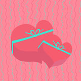 Gift in heart shaped box. Holiday card. Valentine's Day Royalty Free Stock Photo