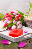 Gift with Heart and Tulips Royalty Free Stock Photo