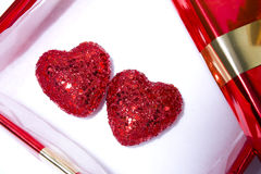 Gift hearts. Two hearts in a open gift box Stock Image