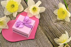 Gift with hearts and flowers Royalty Free Stock Images