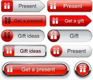 Gift high-detailed modern buttons. Stock Images