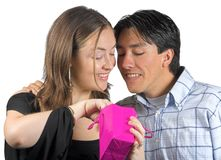 Gift from him to her - pink bag Royalty Free Stock Photography