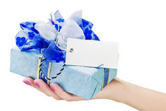 Gift In His Hand Royalty Free Stock Photography