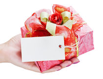 Gift in his hand Royalty Free Stock Images