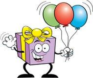 Gift holding balloons Stock Photos