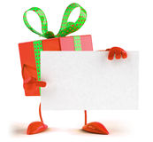 Gift holding sign Royalty Free Stock Photo