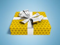 Gift in yellow paper with bow 3d rendering on blue background wi. Gift for a holiday, a gift for the new year, a gift for an anniversary, a gift in a paper Royalty Free Stock Photos